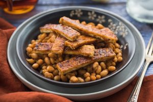bbq tofu with maple bake beans