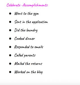 write down your accomplishments