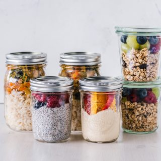 healthy food, smoothies and granola in jars.