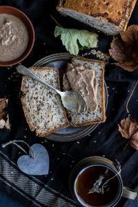 nut butter on a slice of bread