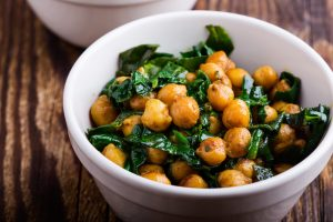 chickpeas with chards in a bowl