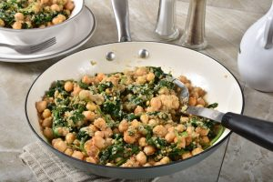 chickpeas, kale and quinoa salad with tahini dressing
