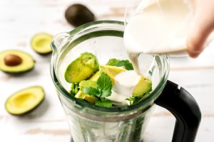 avocados in high speed blender, top view