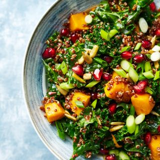 pumpkin and quinoa salad with kale and sunflower seeds.