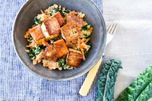 Balsamic baked tofu with kale + carrot quinoa